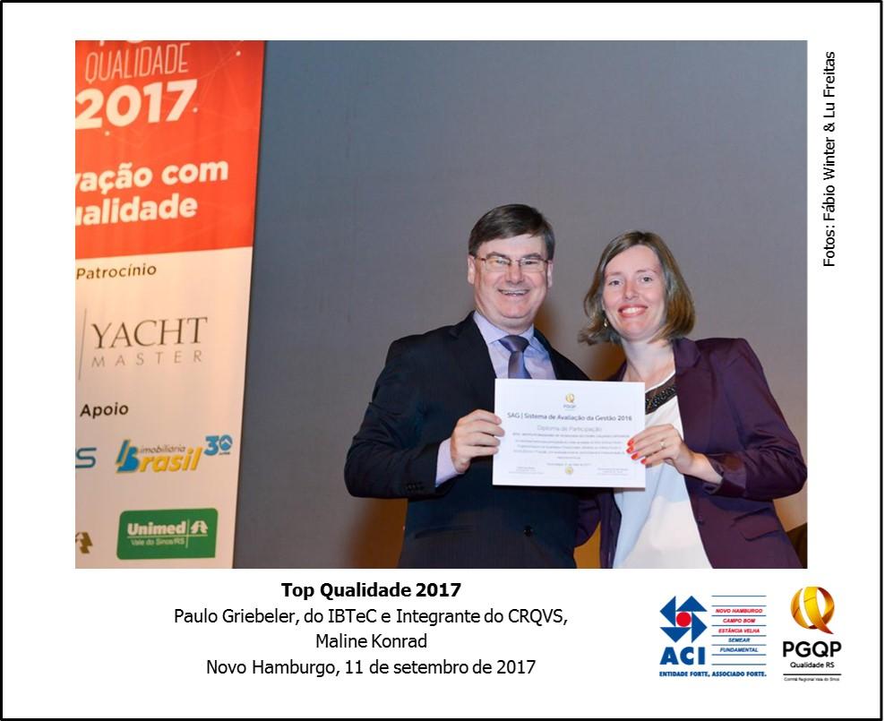 IBTeC foi homenageado pelo Comitê Regional da Qualidade RS